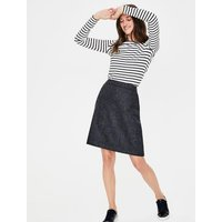 British Tweed Mini Skirt Navy Women Boden, Blue