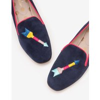 Elsie Embroidered Slippers Navy