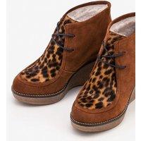 Brundall Wedge Boots Tan Leopard Women Boden, Tan Leopard