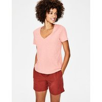 The Cotton V-neck Tee Pink Women Boden, Pink