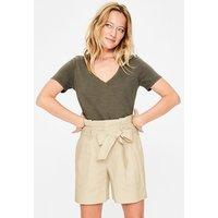 St Ives Paperbag Shorts Ivory Women Boden, Beige