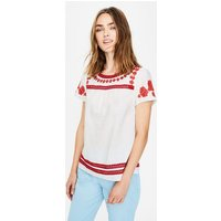 Fiona Embroidered Top White Women Boden, Red