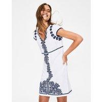 Bea Linen Embroidered Dress White Women Boden, Blue
