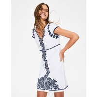 Bea Linen Embroidered Dress White Women Boden, Blue