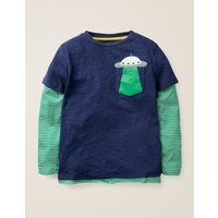 Layered Graphic Pocket T-shirt Blue Boys Boden, Blue