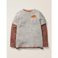 Layered Graphic Pocket T-shirt Grey Boys Boden, Grey