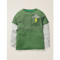Layered Graphic Pocket T-shirt Green Boys Boden, Green