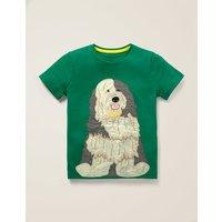 Big Animal Appliqué T-shirt Green Boys Boden, Green