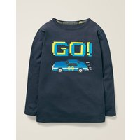 Embroidered Graphic T-shirt Blue Boys Boden, Blue