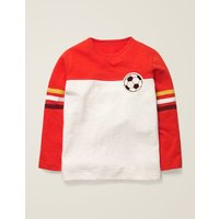 Football T-shirt Red Boys Boden, Ivory