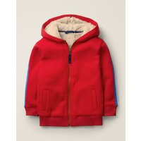 Shaggy-lined Zip-up Hoodie Red Boys Boden, Red
