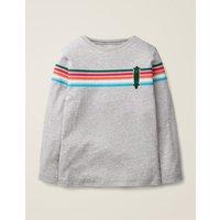 Rainbow Stripe T-shirt Grey Boys Boden, Grey