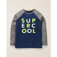 Slogan Raglan T-shirt Blue Boys Boden, Blue