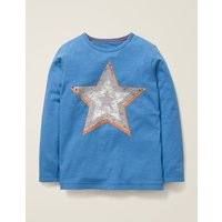 Sequin Colour Change T-shirt Blue Boys Boden, Blue