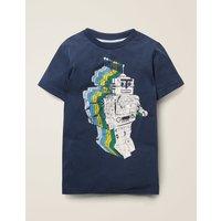 Space Adventure T-shirt Blue Boys Boden, Blue