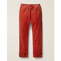 Relaxed Slim Pull-on Trousers Brown Boys Boden, Red
