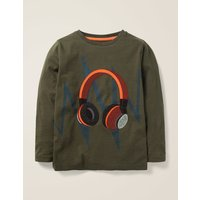 Music Appliqué T-shirt Khaki Boys Boden, Khaki