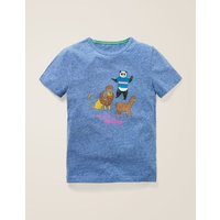 Fun Printed T-shirt Blue Boys Boden, Multicouloured