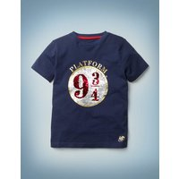 Platform 9¾ Sequin T-shirt Blue Boys Boden, Blue