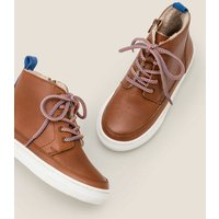 Cosy Leather Lace Up Boots Brown Boys Boden, Tan