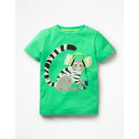 Appliqué Animal Dude T-shirt Green Boys Boden, Green