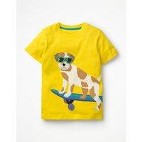 Appliqué Animal Dude T-shirt Yellow Boys Boden, Yellow