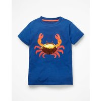 Sequin Animal T-shirt Blue Boys Boden, Blue