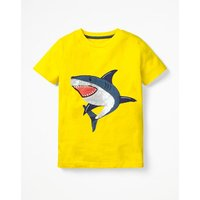 Sequin Animal T-shirt Yellow Boys Boden, Yellow