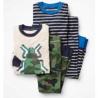 Twin Pack Long John Pyjamas Khaki Boys Boden, Green