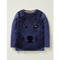 Wolf Textured T-shirt Blue Boys Boden, Blue