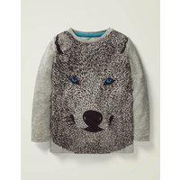 Wolf Textured T-shirt Grey Boys Boden, Grey