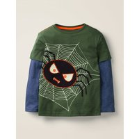 Glowing Halloween T-shirt Green Boys Boden, Green