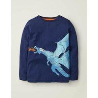 Shiny Creature T-shirt Blue Boys Boden, Blue