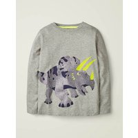 Shiny Creature T-shirt Grey Boys Boden, Grey