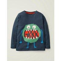 Hungry Monster T-shirt Blue Boys Boden, Blue