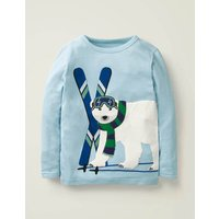 Textured Appliqué T-shirt Blue Boys Boden, Blue