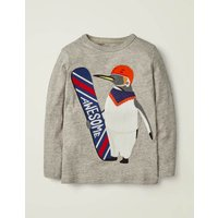 Textured Appliqué T-shirt Grey Boys Boden, Grey