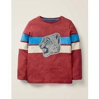 Wild Appliqué T-shirt Red Boys Boden, Leopard