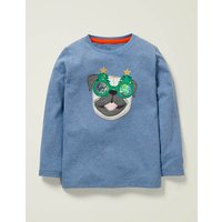 Appliqué Animal T-shirt Light Blue Marl Pug Boys Boden, Blue