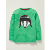 Appliqué Animal T-shirt Green Boys Boden, Green