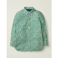 Laundered Printed Shirt Green Boys Boden, Green