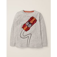 Sequin T-shirt Grey Boys Boden, Grey