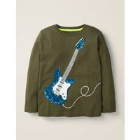 Sequin T-shirt Khaki Boys Boden, Green