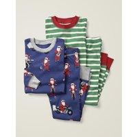 Twin Pack Long Pyjamas Navy Boys Boden, Blue
