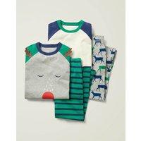 Festive Twin Pack Pyjamas Multi Boys Boden, Grey