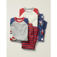 Festive Twin Pack Pyjamas Navy Boys Boden, Blue
