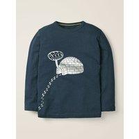Festive Printed T-shirt Stormy Blue Igloo Boys Boden, Blue