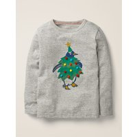 Festive Dress-up T-shirt Ivory Boys Boden, Grey
