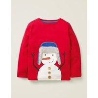 Fluffy Festive T-shirt Poppadew Red Snowman Boys Boden, Red