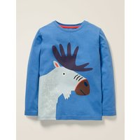 Bright Animal T-shirt Blue Boys Boden, Blue